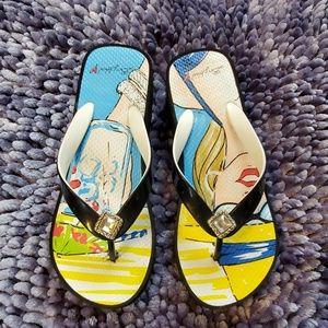 Brighton Wedge Flip Flops with Crystal/Fun Print